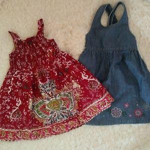 Osh kosh blueberi lot dresses 24 m jean smocked